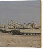 M1 Abrams Tanks At Camp Warhorse Wood Print