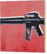 M16 Assault Rifle On Red Wood Print