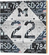 M22 Michigan Highway Symbol Recycled Vintage Great Lakes State License Plate Logo Art Wood Print by Design Turnpike