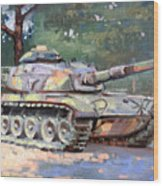 M60 A3 Desert Storm Tank- Plein Air Wood Print