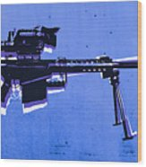 M82 Sniper Rifle On Blue Wood Print