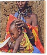 Maasai Grandmother And Child Wood Print
