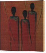 Maasai Trio  Wood Print