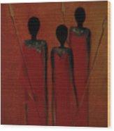 Maasai Trio  Wood Print by David Dehner