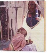 Maasai Woman And Child Wood Print