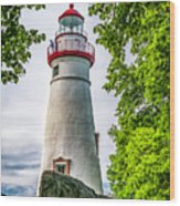 Mablehead Light From The Rocks Wood Print