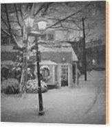Mablehead Market Square Snowstorm Old Town Evening Black And White Painterly Wood Print