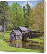 Mabry Mill In The Springtime On The Blue Ridge Parkway  Wood Print