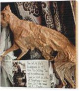 Macabre Mummified Cat - Halloween Wood Print