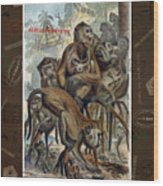 Macaques For Responsible Travel Wood Print