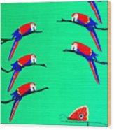 Macaw Ladder Wood Print