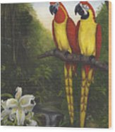 Macaws And Lillies Wood Print