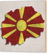 Macedonia Map Art With Flag Design Wood Print