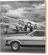 Mach 1 Mustang With P51 In Black And White Wood Print