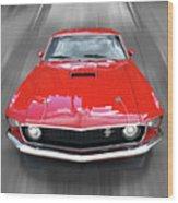 Mach1 Mustang 1969 Head On Wood Print