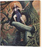 Macha The Irish Goddess Of War Wood Print by Jeremy McHugh