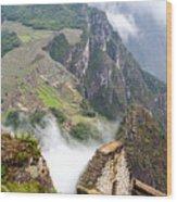 Machu Picchu And Fog Wood Print