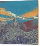 Machu Picchu Travel Poster Wood Print