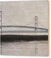 Mackinac Bridge Grunge Wood Print