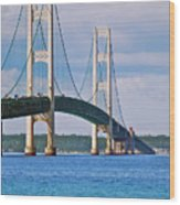 Mackinac Bridge Wood Print by Michael Peychich