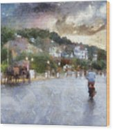 Mackinac Island Michigan Bikes And Horses Pa 01 Wood Print