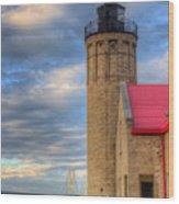 Mackinac Lighthoue And Bridge Wood Print
