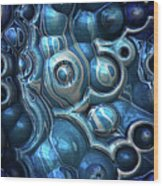 Macro 3d Blue Reflections Wood Print