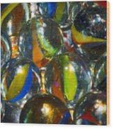 Macro Marbles Wood Print