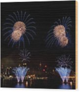 Macy's Fireworks IIi Wood Print by David Hahn