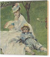 Madame Monet And Her Son Wood Print