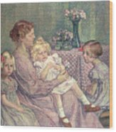 Madame Van De Velde And Her Children Wood Print by Theo van Rysselberghe