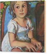 Madeline And The White Dress Wood Print