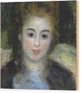 Mademoiselle Henriot Or Young Girl With A Blue Ribbon Wood Print