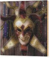 Madi Gras Mask And Beads Wood Print