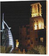 Madinat And Burj Al Arab Hotels Wood Print