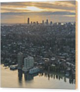 Madison Park And The Seattle Skyline Wood Print