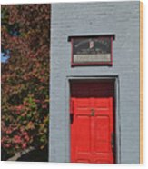 Madison Red Fire House Door Wood Print