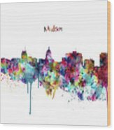 Madison Skyline Silhouette Wood Print