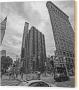 Madison Square Flatiron And Clock Tower New York Ny Black And White Wood Print