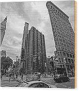 Madison Square Flatiron And Clock Tower New York Ny Black And White Wood Print