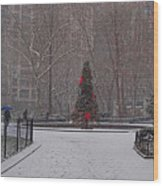 Madison Square Park In The Snow At Christmas Wood Print