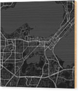Madison Wisconsin Usa Dark Map Wood Print