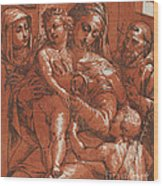 Madonna And Child Accompanied By Saints Wood Print