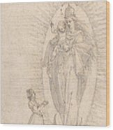 Madonna And Child Appearing To A Supplicant Wood Print