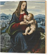 Madonna And Child Before A Landscape Wood Print
