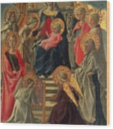 Madonna And Child Enthroned With Angels And Saints Wood Print