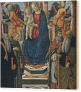 Madonna And Child Enthroned With Saints And Angels Wood Print