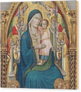 Madonna And Child Enthroned With Twelve Angels Wood Print