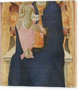 Madonna And Child Enthroned With Two Cherubim                                Wood Print
