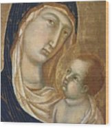 Madonna And Child Fragment  Wood Print